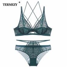 TERMEZY Sexy Lace Bra Set Women Underwear Set Ultra-thin Transparent Lingerie set Lace Underwear Underwire Bra Lingerie недорого