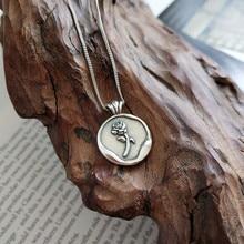 LouLeur 925 sterling silver vintage rotondo del fiore della rosa del pendente di neckalce argento collana creativa per womenfestival regalo dei monili