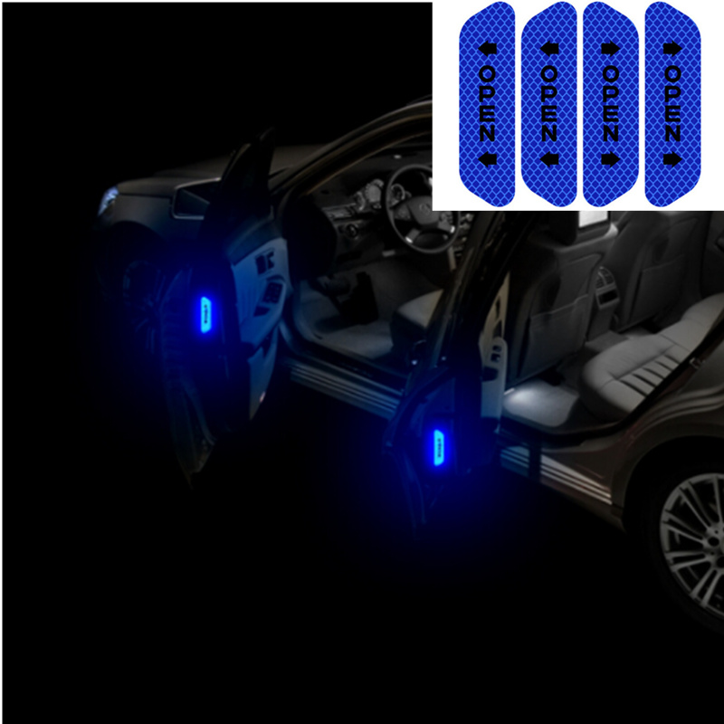 4Pcs Car Door Safety Warning Mark OPEN Reflective Stickers For Renault Koleos Clio Scenic Megane Duster Sandero Captur Twingo