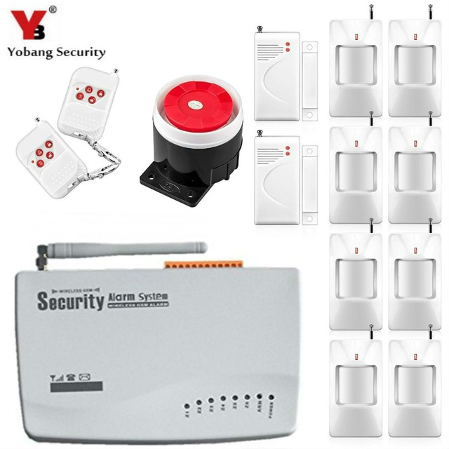 YobangSecurity Home Security Wireless GSM Alarm System English Russian  Voice Prompt Wired Alarm Siren PIR/