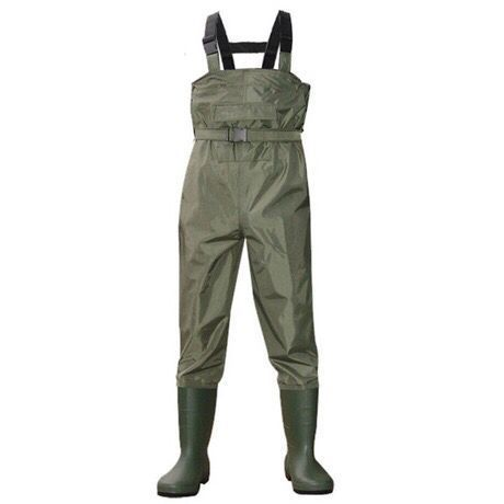 Фотография Outdoor breathable chest pocket long wading pants camo waterproof PVC men women fishing wader boots shoes jumpsuit trousers