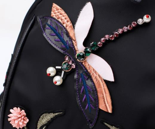 Vintage Handmade Rhinestone Floral Embroidered Backpack women Fashion Nylon waterproof travel mochila kanken backpack 4