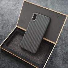 Enmov super fino caso de fibra carbono para o iphone xs max fosco proteção da câmera ultra leve real de carbono volta caso para iphone xs x