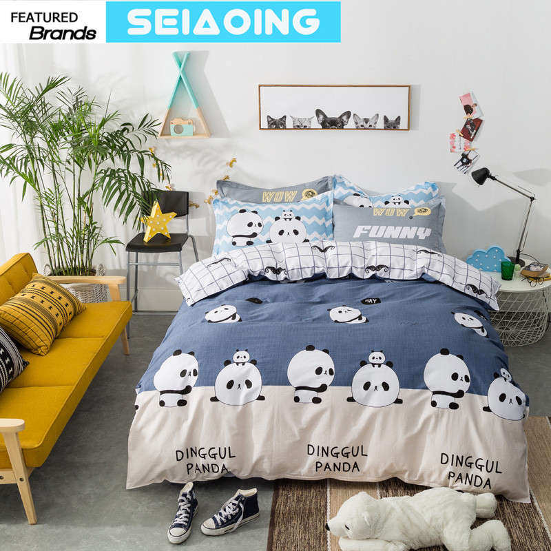black white panda bedding sets 100% cotton cartoon duvet covers girl children queen full size morden 3d bed linens chinese decor