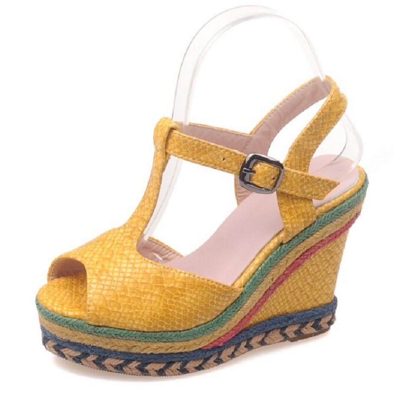 ФОТО Sexy Serpentine Leather Platform Wedge Sandals For Women Bohemia Straw Braid Open Toe  Female Shoes Women High Heels US 10.5
