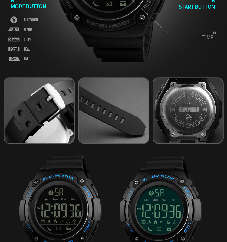 SKMEI 2019 New Bluetooth Sport Smart Watch Men Waterproof Calories Pedometer digital SmartWatch For IOS Android (15)