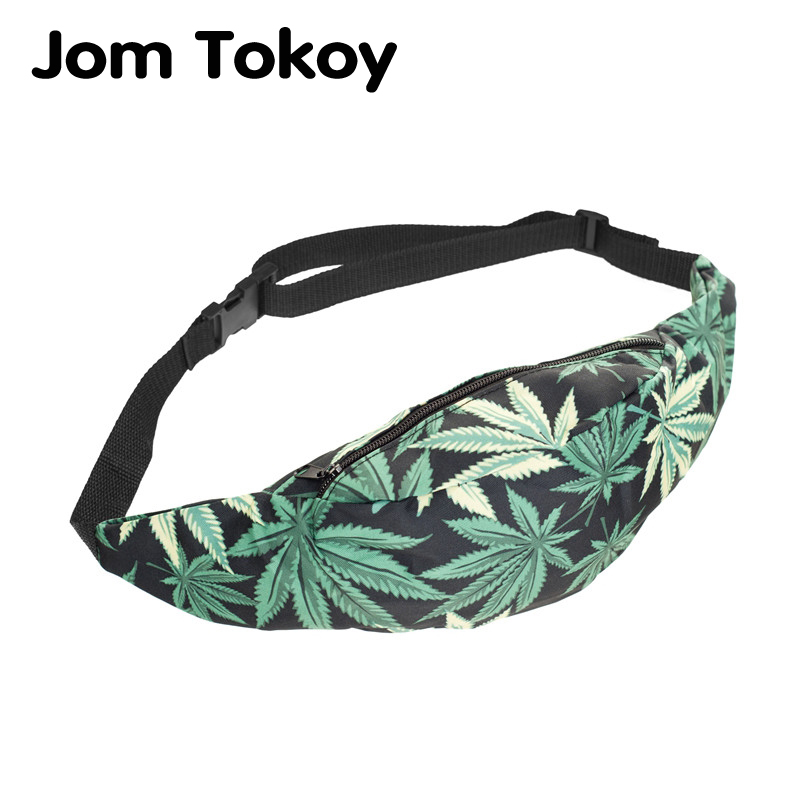 Jom Tokoy New 3D Colorful Waist Pack For Men Fanny Pack Style Bum Bag Green Leaf Women Money Belt Travelling Waist Bag