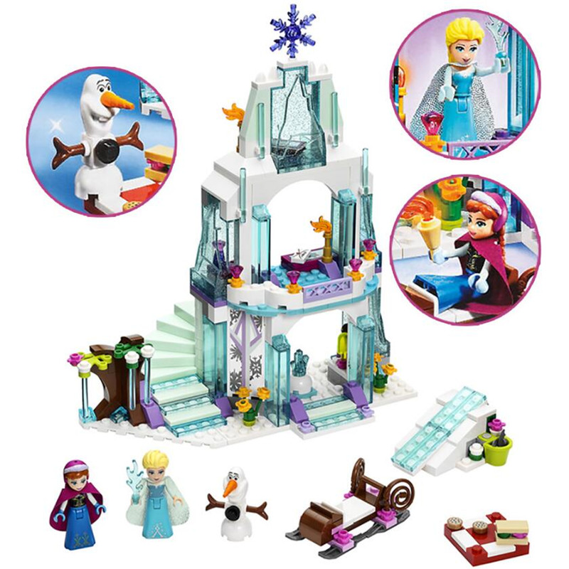 2018 New Friends Series Elsa Anna Figures Dress Up Building Block Toys Compatible Girl Friends Princess Castle Toy Legoinglys