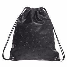 15bc415cbc831 THINKTHENDO czaszka sznurkiem moda plecak podróży kobiety plecaki torba na  ramię nowy Unisex czarne skórzane torby na co dzień