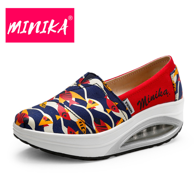 MINIKA 2017 Designer Slip-On Women Casual Shoes Fashion Loafers Durable Women Flat Shoes Air Cushion Slip On Shoes Women minika new arrival 2017 casual shoes women multicolor optional comfortable women flat shoes fashion patchwork platform shoes