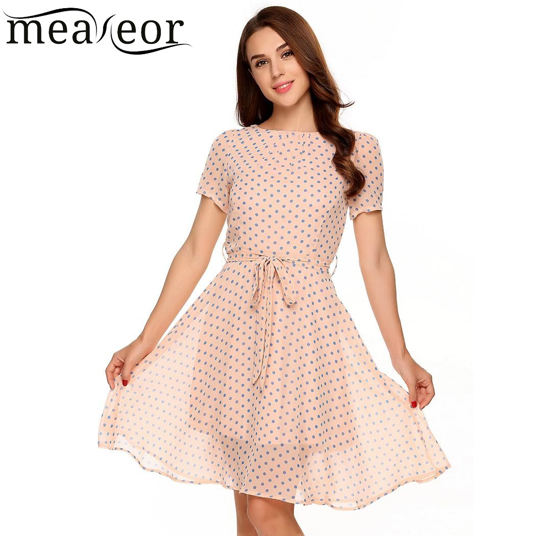 Meaneor Women Dot Lining Mini Dress Belt O-Neck Short Sleeve Empire Summer New Casual Vintage Ladies Femme Dresses Vestidos