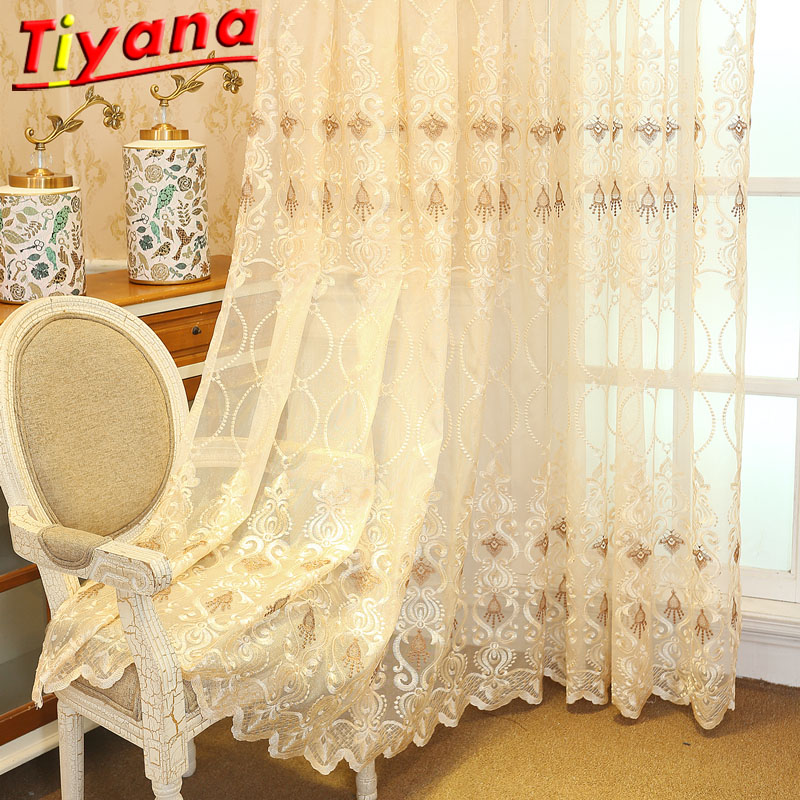 European And American Style Yellow Embroidery Tulle Living Room Bedroom Cheap Embroidery Tulle Curtain Discount Hot Sale M072#30