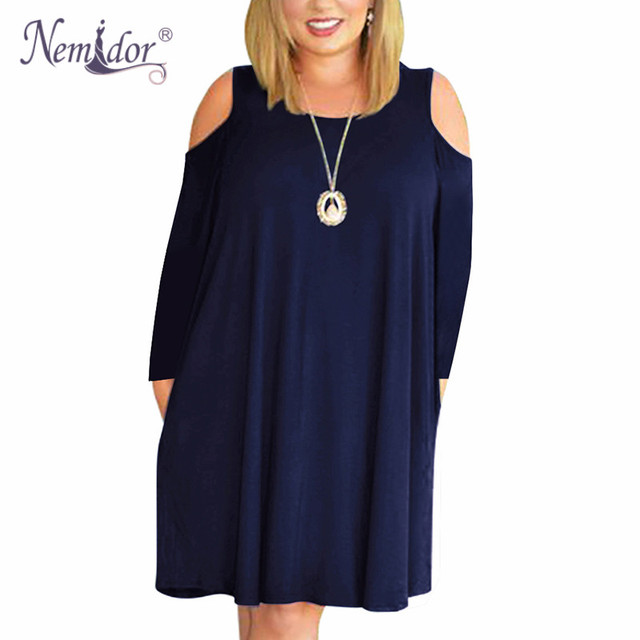 Women Casual O-neck Off The Shoulder Midi Plus Size Dress Long Sleeve Vintage Solid Loose Dress With Pockets