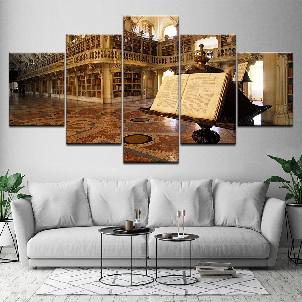Canvas Painting Palace Monastery Library 5 Pieces Wall Art Painting Modular Wallpapers Poster Print For Living Room Home Decor Latest Technology Painting & Calligraphy Home & Garden