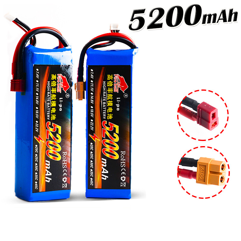 HUONIU Power 7.4V 11.1V 14.8V 22.2V 5200mAh 45C 2S 3S 4S 6S Rechargeable Lipo Battery XT60 T other Plug For RC Drone Car Boat image