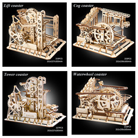 4 Kinds Marble Run Game 3D Puzzle DIY Waterwheel Wooden Model Building Kits Assembly Toy Gift for Children Adult dropshipping