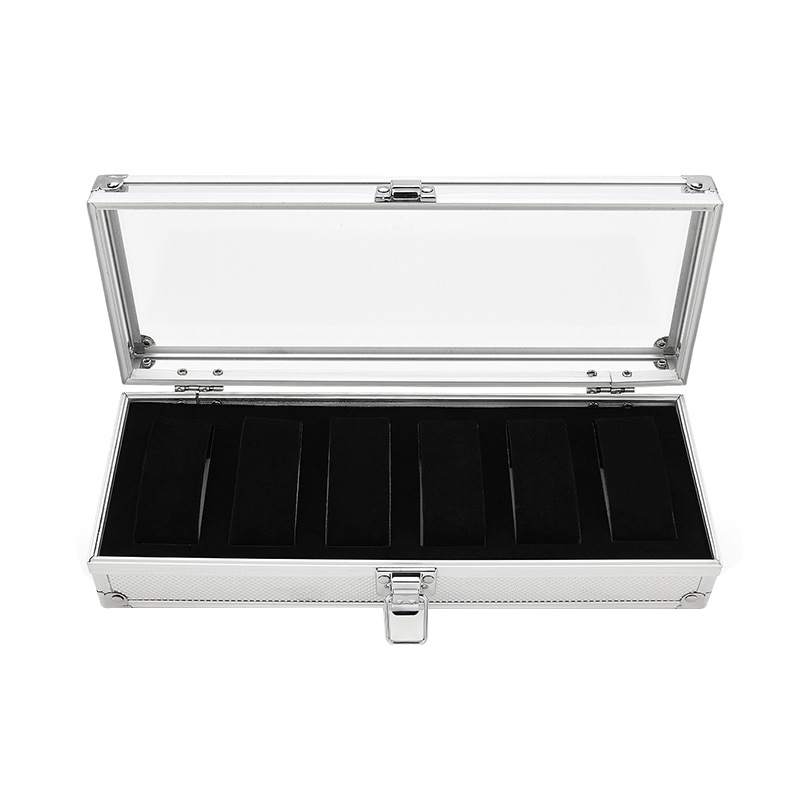 Image 2 - 6 Slots Watch Box Aluminum Display Case Organizer Jewelry Storage Tray CX17-in Watch Boxes from Watches