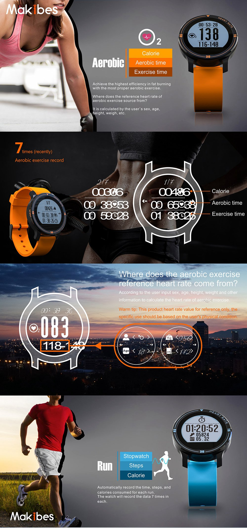 MAKIBES AEROBIC A1 SMART SPORTS WATCH BLUETOOTH DYNAMIC HEART RATE MONITOR SMARTWATCH S200 231407 17