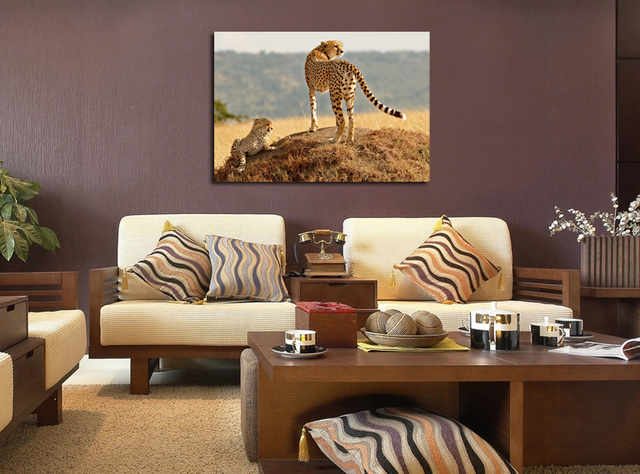 Leopard Print Oil Painting Animal Wall Pictures On Canvas Hanging