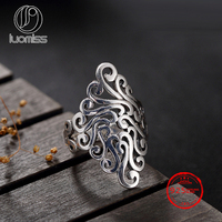 S925 Sterling Antique Silver Flower Woman S Ring Handmade Silver Wire Weaving Vintage Unique Ladies Opening