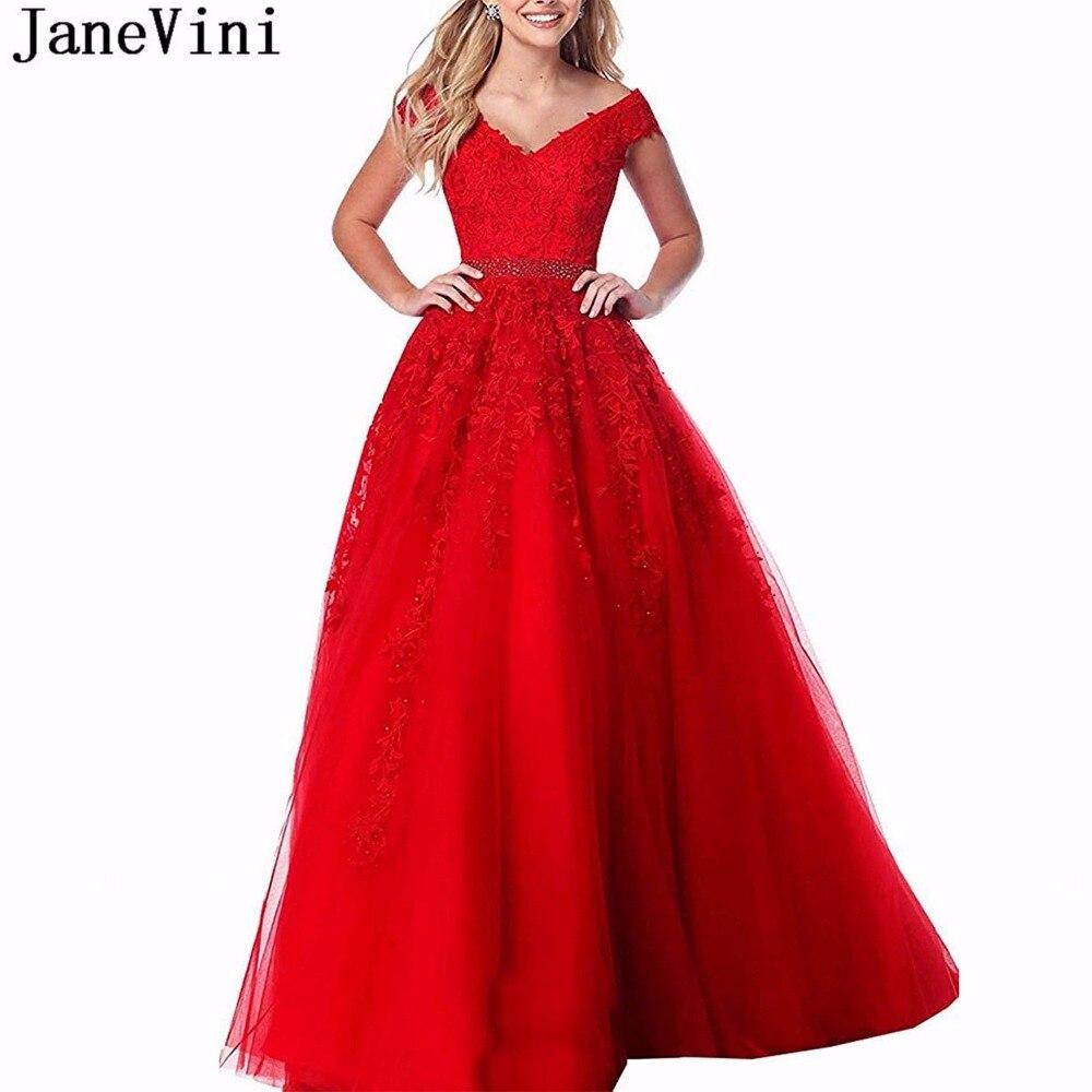 JaneVini Elegant Red   Prom     Dress   Long V Neck Lace Appliques Beaded A Line Floor Length Tulle   Dresses     Prom   2019 Vestidos Largos