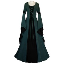 Medieval Victorian Gothic Dress Long Trumpet Sleeve Dress Custom Made Adult Women's Halloween Carnival Cosplay Costume