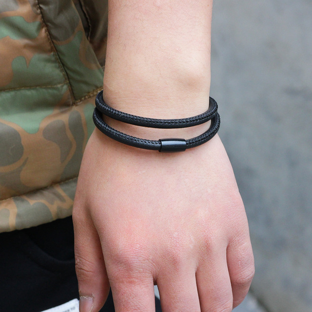 кожаный браслет 41 см в европейском стиле модный мужской из фотография