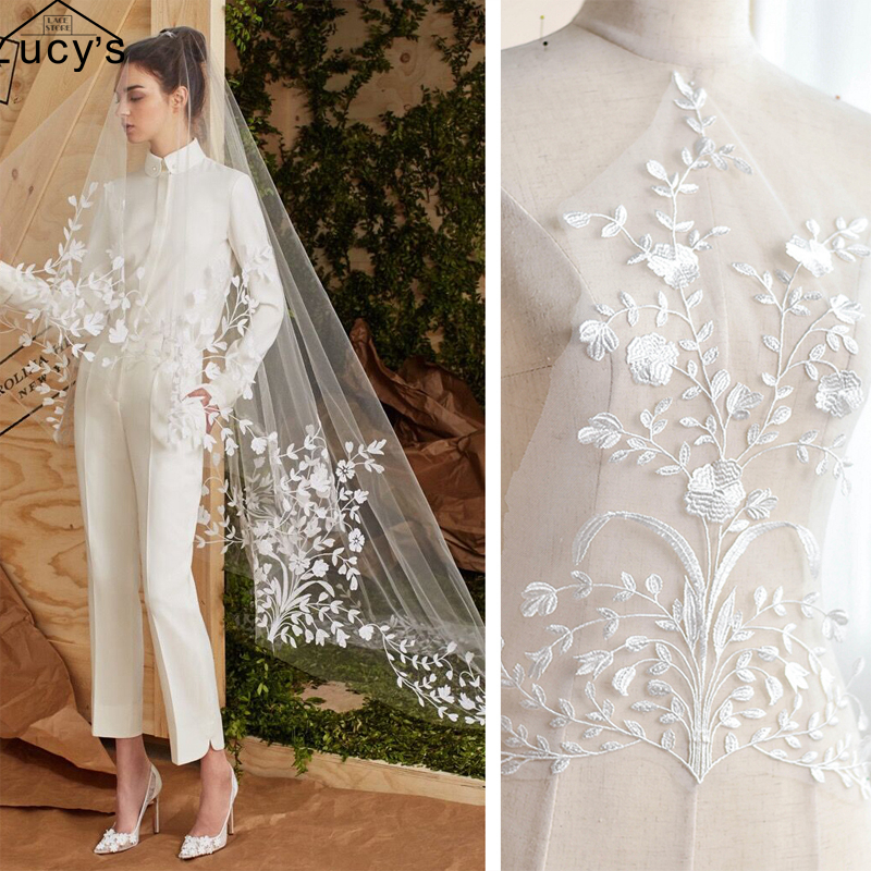 44x31CM/piece wedding veil lace patches light ivory wedding lace appliques sewing for gowns 5pcs/lot