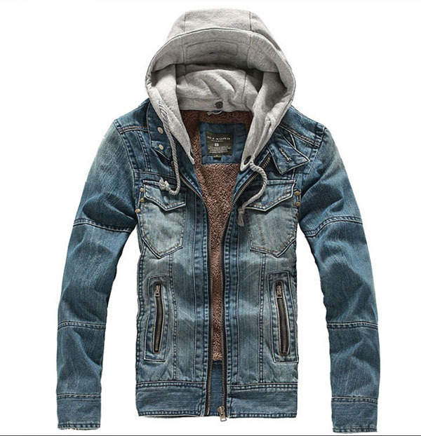 Hot Sale Men Winter Cotton Padded Denim Jacket Plus Velvet Removable Cap M-2Xl Warm Coat  Casual Outwear Clothes S998 hot sale cotton solid men tank top