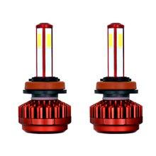 LAIMAIK DC12V Carro LEVOU Lâmpada Do Farol Farol H7 H11 9005 9006 4-lado Projetado 120 W 12000LM H4 COB Lâmpada LED Farol Lâmpadas LED