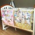 Ropa de cama cuna cuna de algodón 100% bolsa de almacenamiento de múltiples capas de bolsas de almacenamiento de dibujos animados lindo juego de cama cuna cama de bebé multifuncional