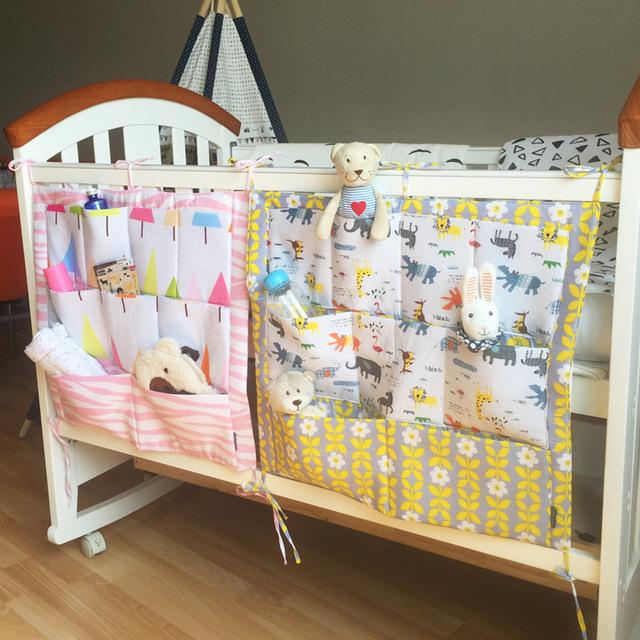Venta caliente ropa de cama cuna cuna de algodón bolsa de almacenamiento de múltiples capas de bolsas de almacenamiento de dibujos animados lindo juego de cama cuna cama de bebé multifuncional