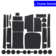 Non-slip Car Door Gate Slot Mats Carpets Position Cup Holder Pads For Toyota Sienna 2015 2016 2017 Door Groove Mat Free Shipping