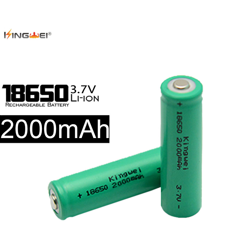 Green KingWei 4Pcs 18650 Rechargeable Li-ion <font><b>Battery</b></font> <font><b>2000mAh</b></font> <font><b>3.7v</b></font> <font><b>Batteries</b></font> lithium ion Bateria Freeshipping image