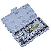 Juego de destornillador de acero al carbono, herramientas de mano de mantenimiento, juego de llaves, dados, troquel, 40 Uds.