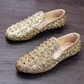 Genuine leather Men's hair stylist nightclub wind tide golden rivet set flat 2017 sping fashion shoes male casual loafers US 8.5