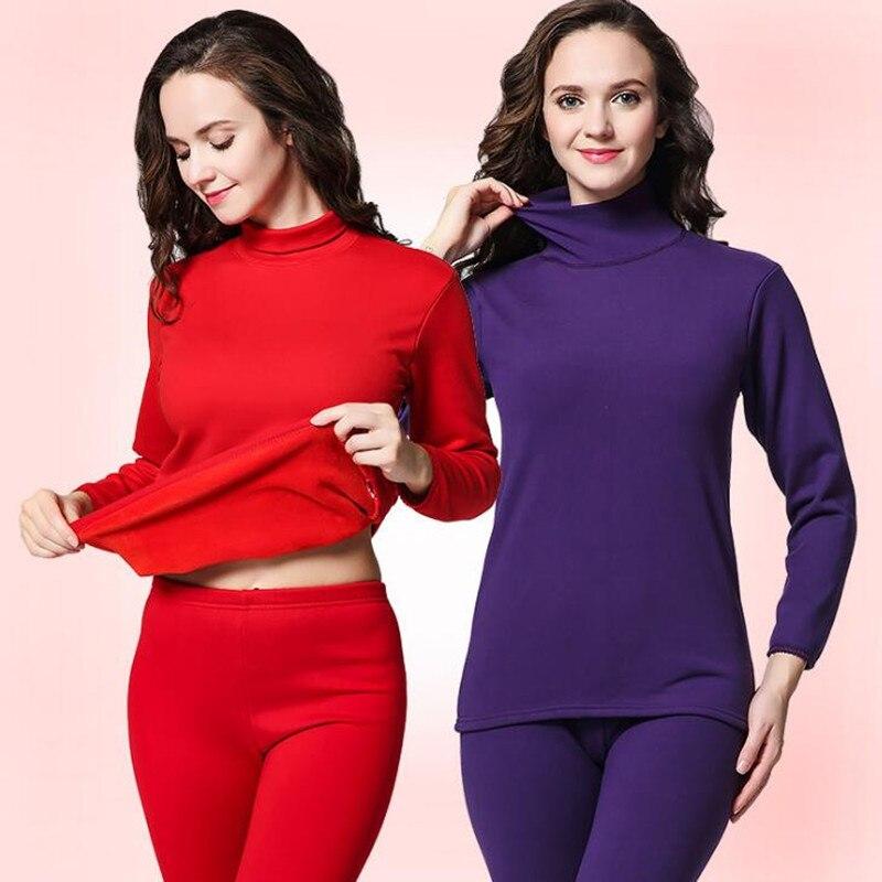 Long Johns For Women Plus Size XXXL Women Winter Thermal Underwear Suit Thick Fleece Warm Ladies Thermo Underwear Female Clothes