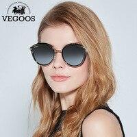 VEGOOS Polarized Women Round Sunglasses PC Frame Colorful Mirrored Lense Fashion Retro Cat Eye Polaroid Sun