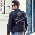 2016 Winter Leather Jacket Men Turn-down Collar Jaqueta De Couro Masculina PU Mens Leather Jackets Skull Punk Veste Cuir Homme