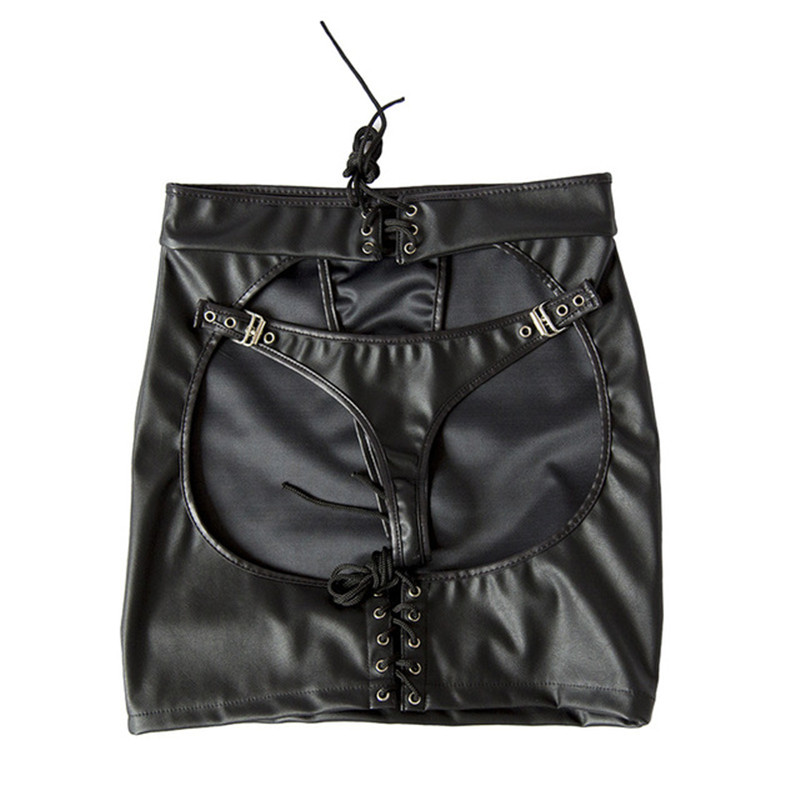Porn Latex Baby Doll Sexy Lingerie For Women Hot Black PU Leather Open Crotch Mini Skirt + G-string Pole Dance Erotic Costumes