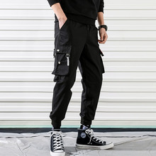 Men cargo pants 2019 new arrival spring and autumn black pockets plus size male ankle-length Korean style hot sale n07
