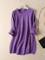 100% кашемировое женское осенне зимнее платье средней длины пуловер свитер вогнутый и выпуклый вязаный свободный низкий o образный вырез S 3XL