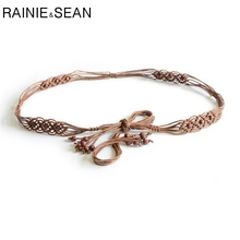RAINIE SEAN Belts For Women Bohemian Thin Waist Belt Dress Brown Wooded Bead Female Casual Braided