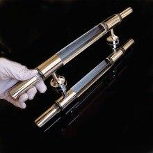 400mm modern simple fashion clear crystal glass door handles stainless steel bathroom door pulls handles