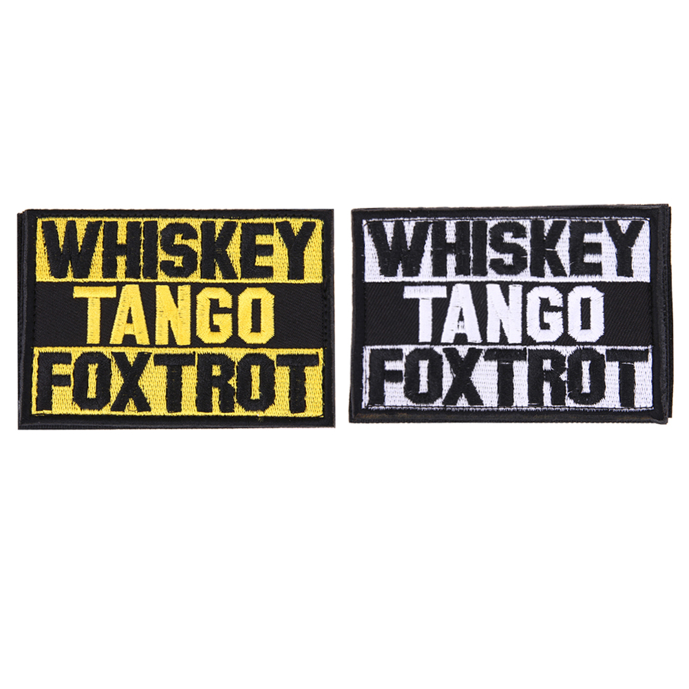 <font><b>Whiskey</b></font> <font><b>Tango</b></font> <font><b>Foxtrot</b></font> Patch Tactical Funny Hook & Loop Embroidered Morale Army Tactical Badge Embroidered Badges Fabric Stickers