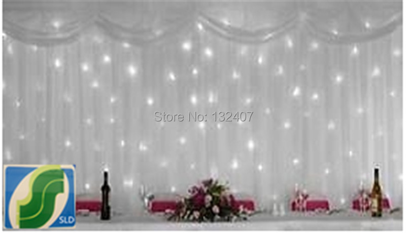 Whole Backdrop White Ice Silk Wedding Wiht Led Curtain Light Drape Free Shipping