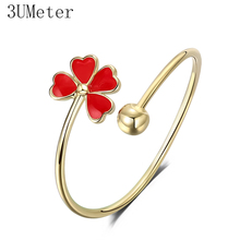 3UMeter 2019 New Leaf Adjustable Ring For Women Girls Cute Small Simple Ring Red Delicate Ring Gift Drop Shipping delicate beads hollow ring for women