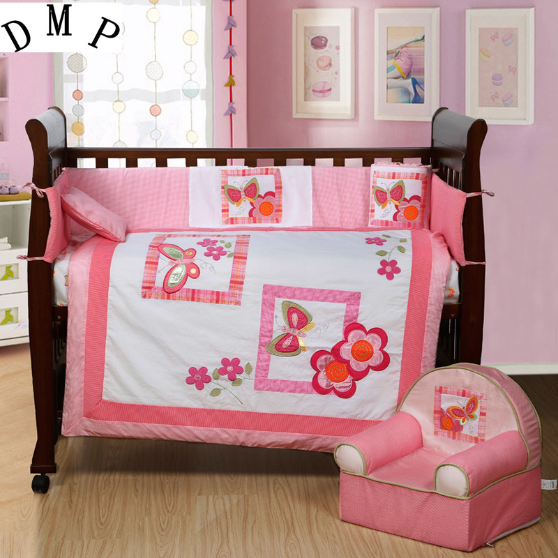 7PCS Embroidery pink baby crib bedding set cartoon newborn baby bed set ,include(bumper+duvet+sheet+pillow)