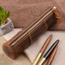 100% Genuine Leather Zipper Pen Pencil Bag Handmade Vintage Retro Style Creative Trinodal Model School Stationary Product - DISCOUNT ITEM  27% OFF All Category