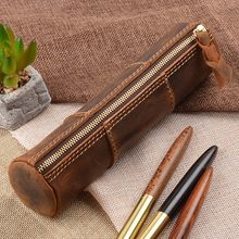 100% Genuine Leather Zipper Pen Pencil Bag Handmade Vintage Retro Style Creative Trinodal Model School Stationary Product(China)
